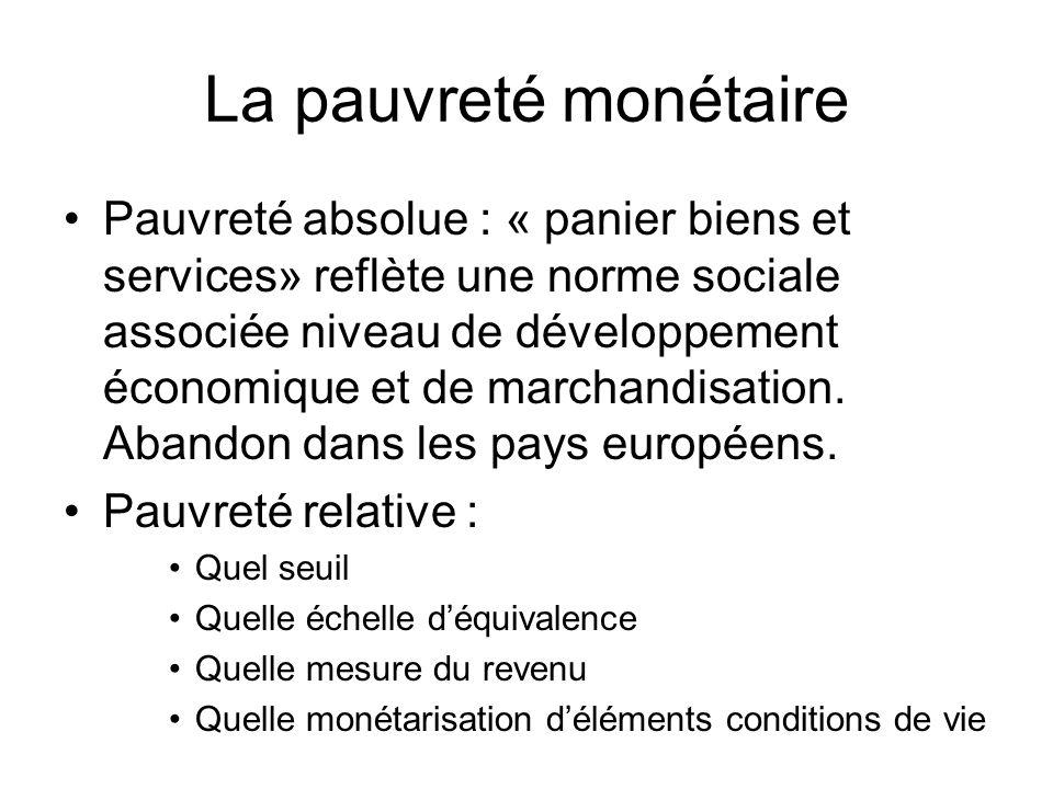 La pauvreté monétaire Pauvreté absolue : « panier biens et services» reflète une norme sociale associée niveau de développement économique et de march