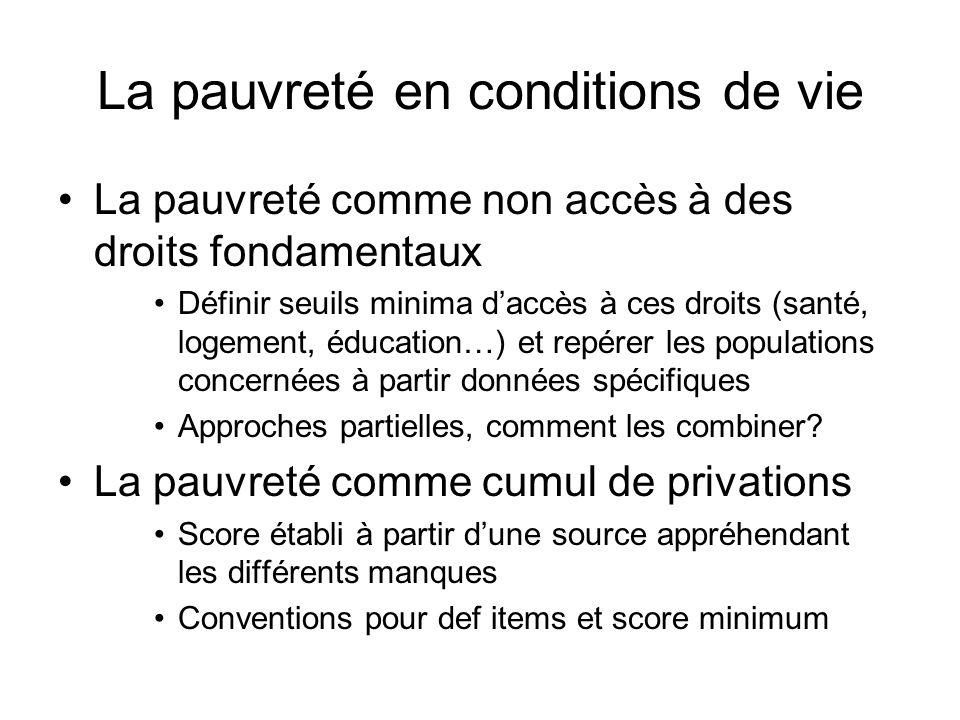 La pauvreté en conditions de vie La pauvreté comme non accès à des droits fondamentaux Définir seuils minima daccès à ces droits (santé, logement, édu