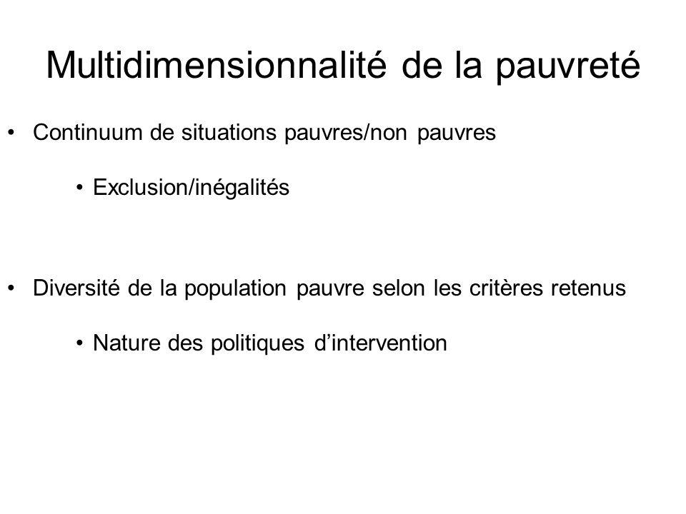 Multidimensionnalité de la pauvreté Continuum de situations pauvres/non pauvres Exclusion/inégalités Diversité de la population pauvre selon les critè