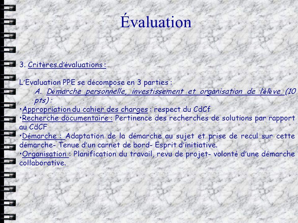 Évaluation 3. Crit è res d é valuations : L Evaluation PPE se d é compose en 3 parties : A. D é marche personnelle, investissement et organisation de
