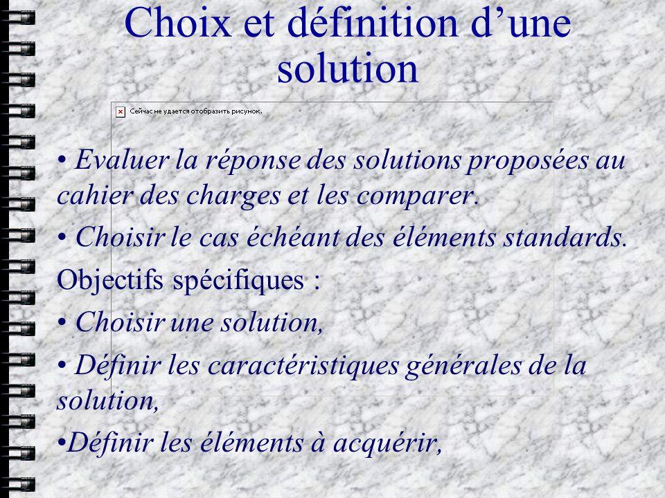 Choix et définition dune solution Evaluer la réponse des solutions proposées au cahier des charges et les comparer. Choisir le cas échéant des élément
