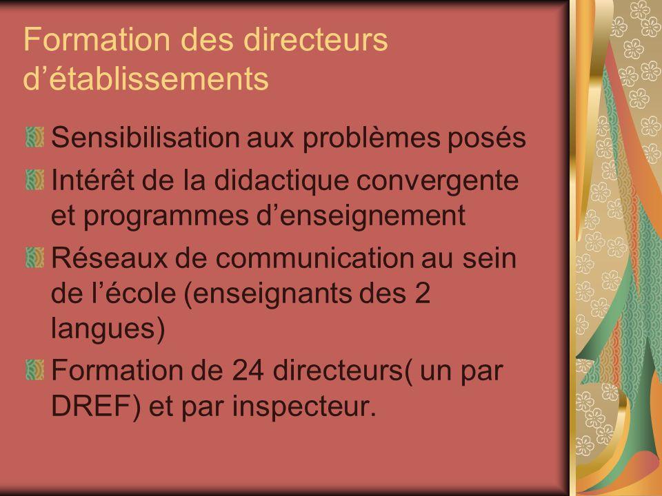 Formation des directeurs détablissements Sensibilisation aux problèmes posés Intérêt de la didactique convergente et programmes denseignement Réseaux de communication au sein de lécole (enseignants des 2 langues) Formation de 24 directeurs( un par DREF) et par inspecteur.
