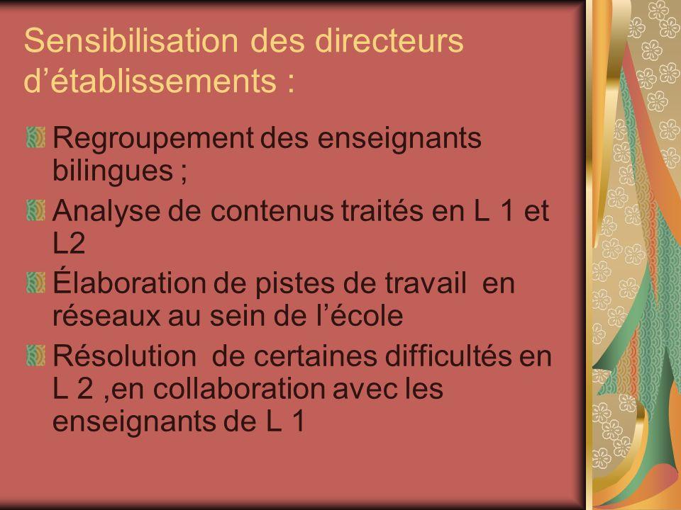 Sensibilisation des directeurs détablissements : Regroupement des enseignants bilingues ; Analyse de contenus traités en L 1 et L2 Élaboration de pistes de travail en réseaux au sein de lécole Résolution de certaines difficultés en L 2,en collaboration avec les enseignants de L 1
