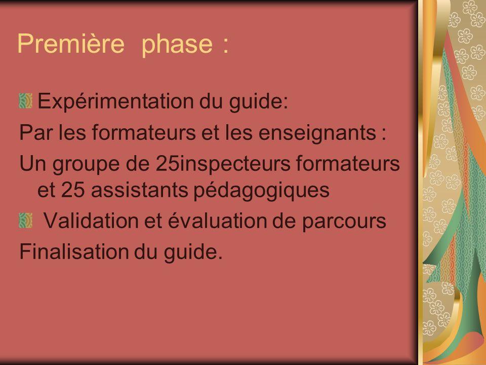 Première phase : Expérimentation du guide: Par les formateurs et les enseignants : Un groupe de 25inspecteurs formateurs et 25 assistants pédagogiques Validation et évaluation de parcours Finalisation du guide.