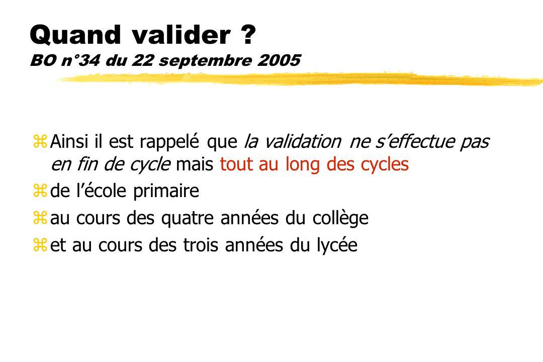 Conditions de validation? BO n°34 du 22 septembre 2005 zLattestation est délivrée à tout élève pour lequel au moins 80% des items ont été validés, à c