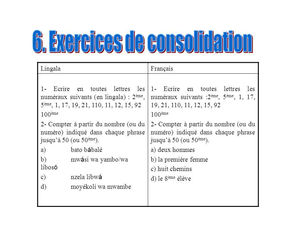 LingalaFrançais 1- Ecrire en toutes lettres les numéraux suivants (en lingala) : 2 ème, 5 ème, 1, 17, 19, 21, 110, 11, 12, 15, 92 100 ème 2- Compter à
