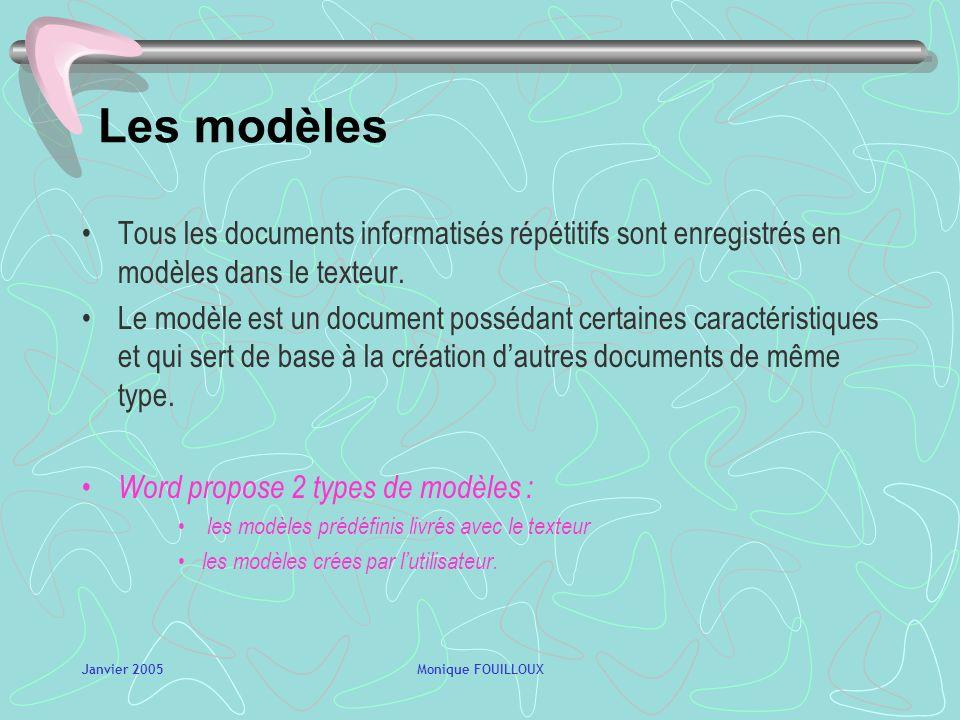 Janvier 2005Monique FOUILLOUX La charte graphique Définition : ensemble des directives visant à la mise en forme dune identité dentreprise Objectifs :