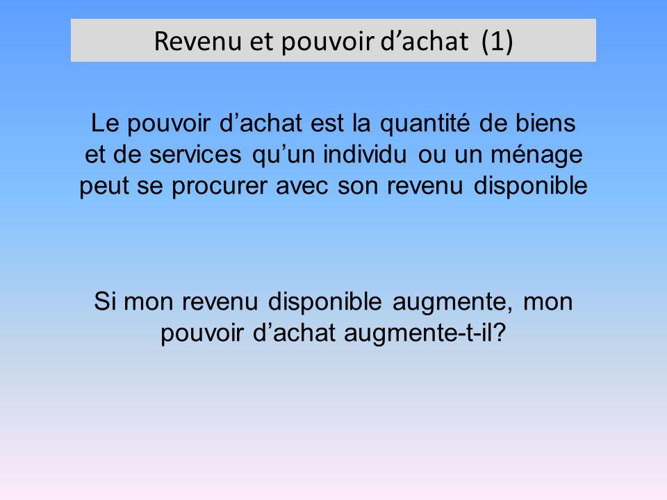 Revenu et pouvoir dachat (1) Le pouvoir dachat est la quantité de biens et de services quun individu ou un ménage peut se procurer avec son revenu dis