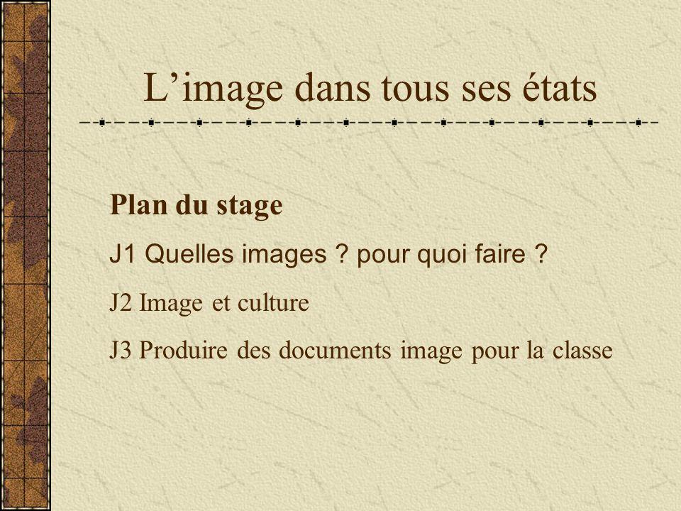 Limage dans tous ses états Plan du stage J1 Quelles images .