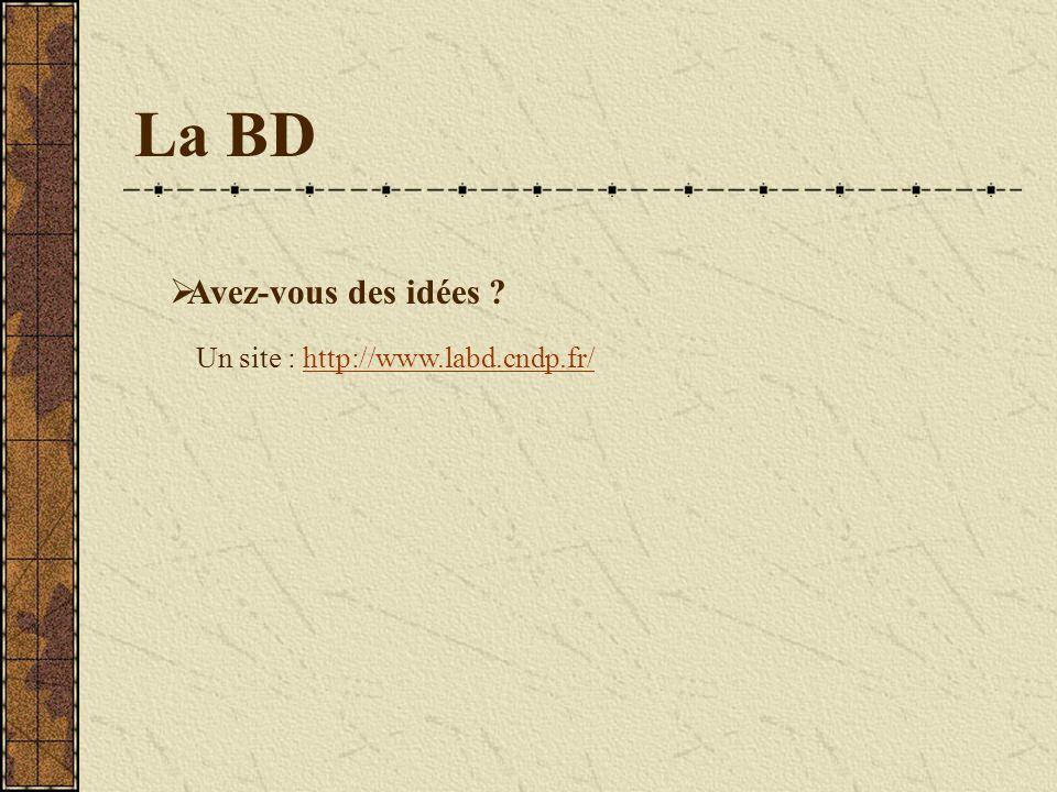 La BD Avez-vous des idées ? Un site : http://www.labd.cndp.fr/http://www.labd.cndp.fr/