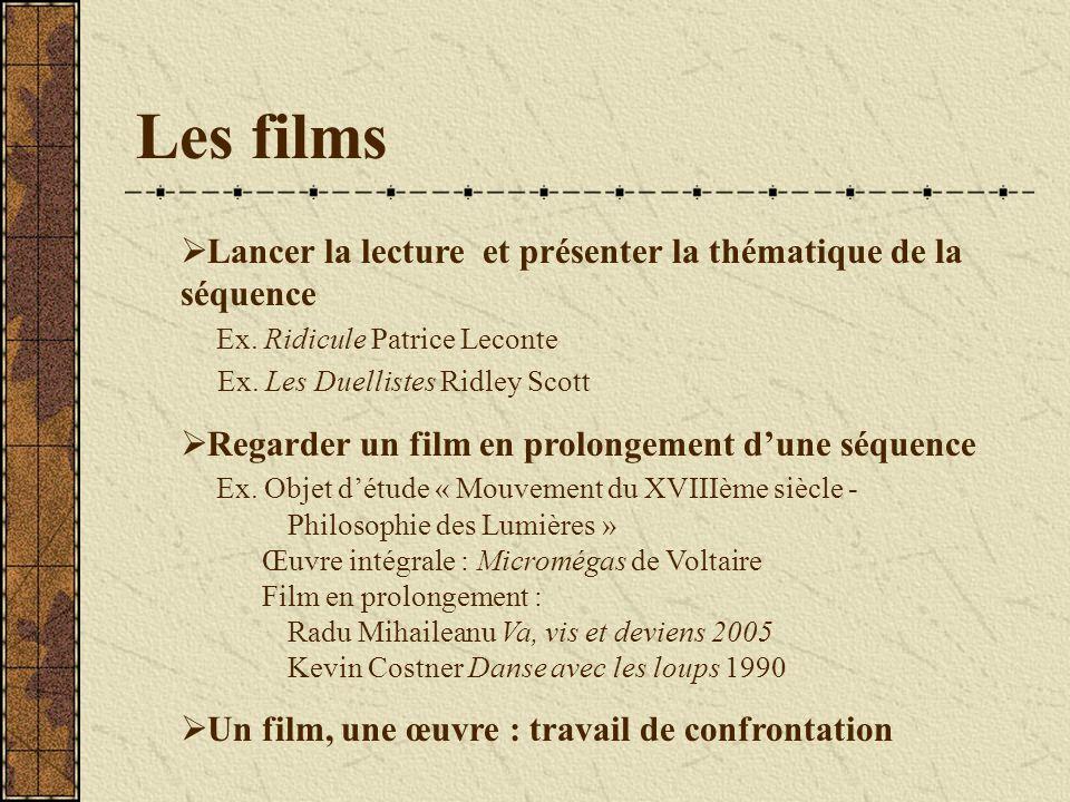 Les films Lancer la lecture et présenter la thématique de la séquence Ex.