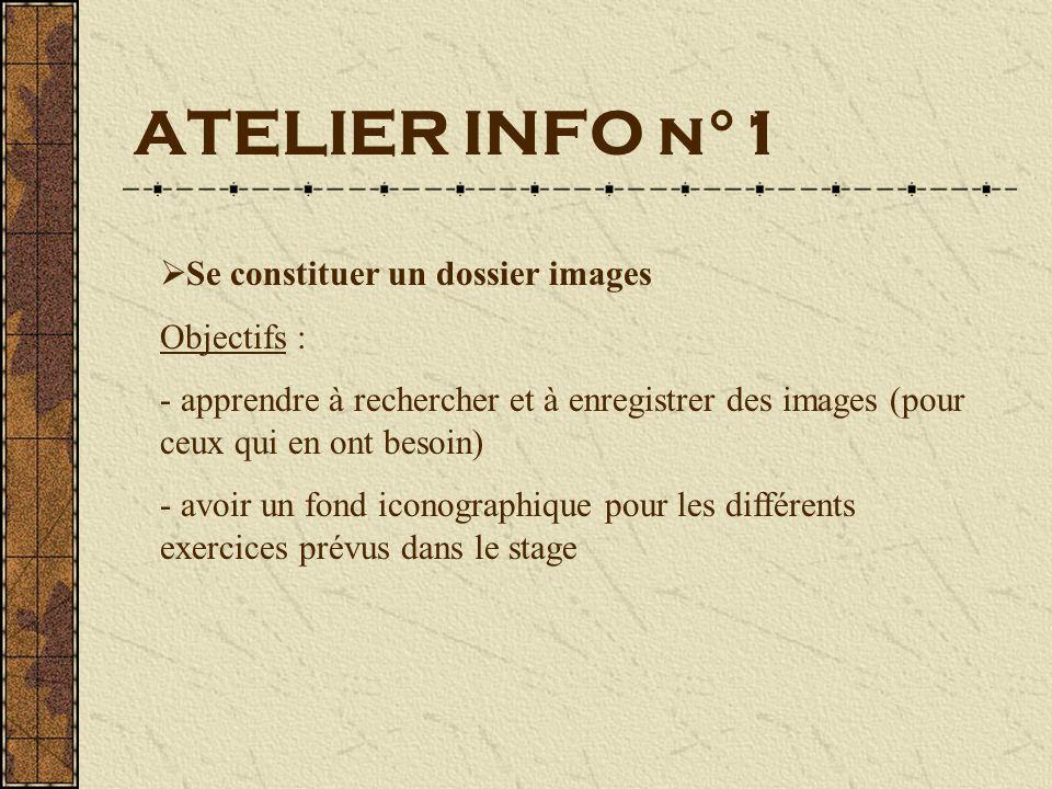 ATELIER INFO n°1 Se constituer un dossier images Objectifs : - apprendre à rechercher et à enregistrer des images (pour ceux qui en ont besoin) - avoir un fond iconographique pour les différents exercices prévus dans le stage