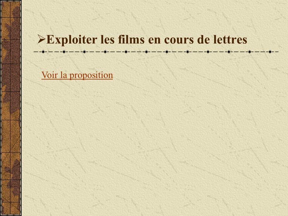 Exploiter les films en cours de lettres Voir la proposition
