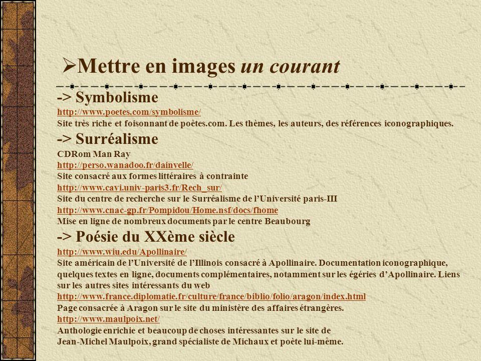 Mettre en images un courant -> Symbolisme http://www.poetes.com/symbolisme/ Site très riche et foisonnant de poètes.com.