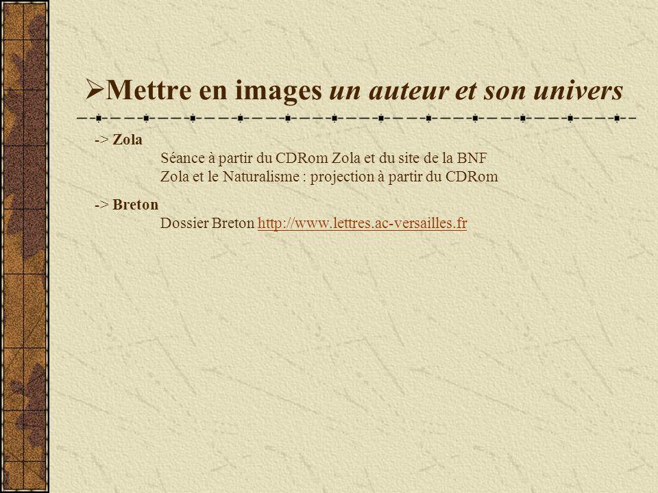 Mettre en images un auteur et son univers -> Zola Séance à partir du CDRom Zola et du site de la BNF Zola et le Naturalisme : projection à partir du CDRom -> Breton Dossier Breton http://www.lettres.ac-versailles.frhttp://www.lettres.ac-versailles.fr