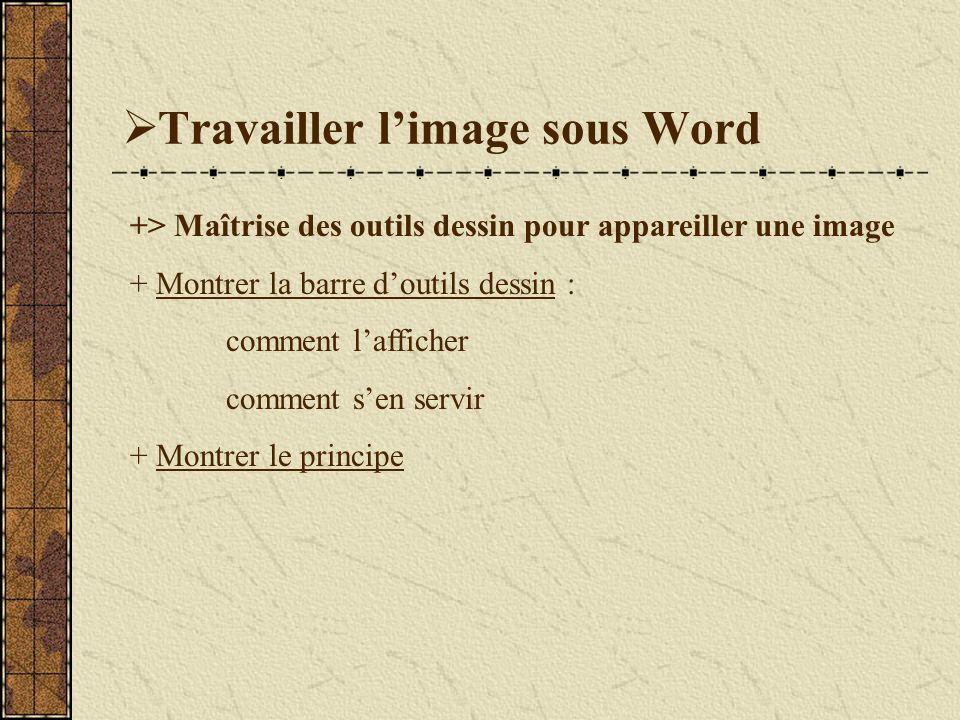 Travailler limage sous Word +> Maîtrise des outils dessin pour appareiller une image + Montrer la barre doutils dessin : comment lafficher comment sen servir + Montrer le principe