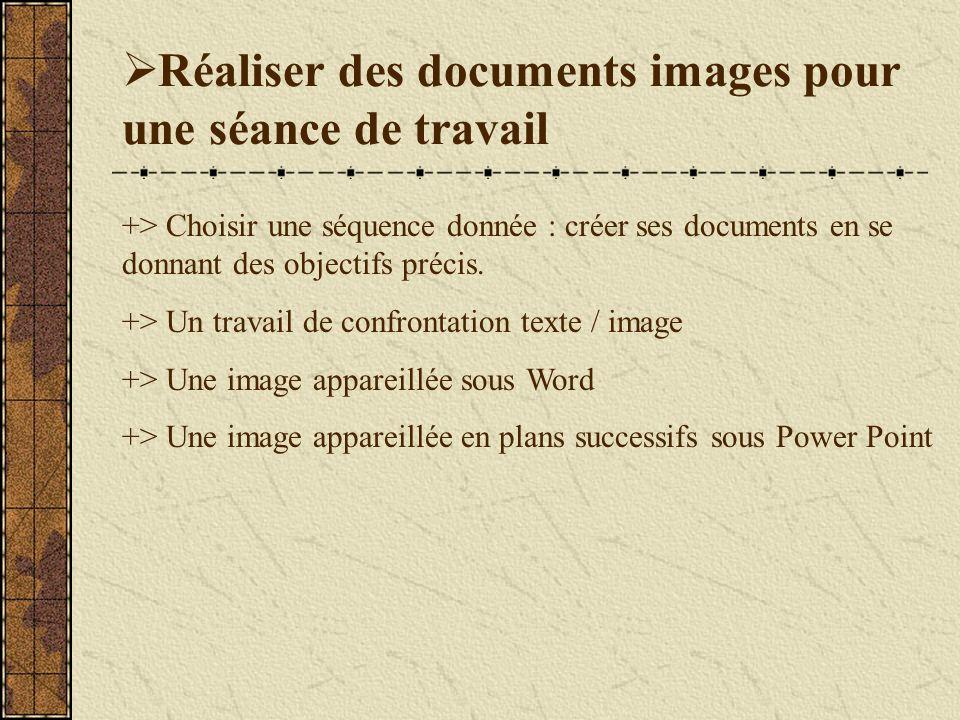 Réaliser des documents images pour une séance de travail +> Choisir une séquence donnée : créer ses documents en se donnant des objectifs précis.