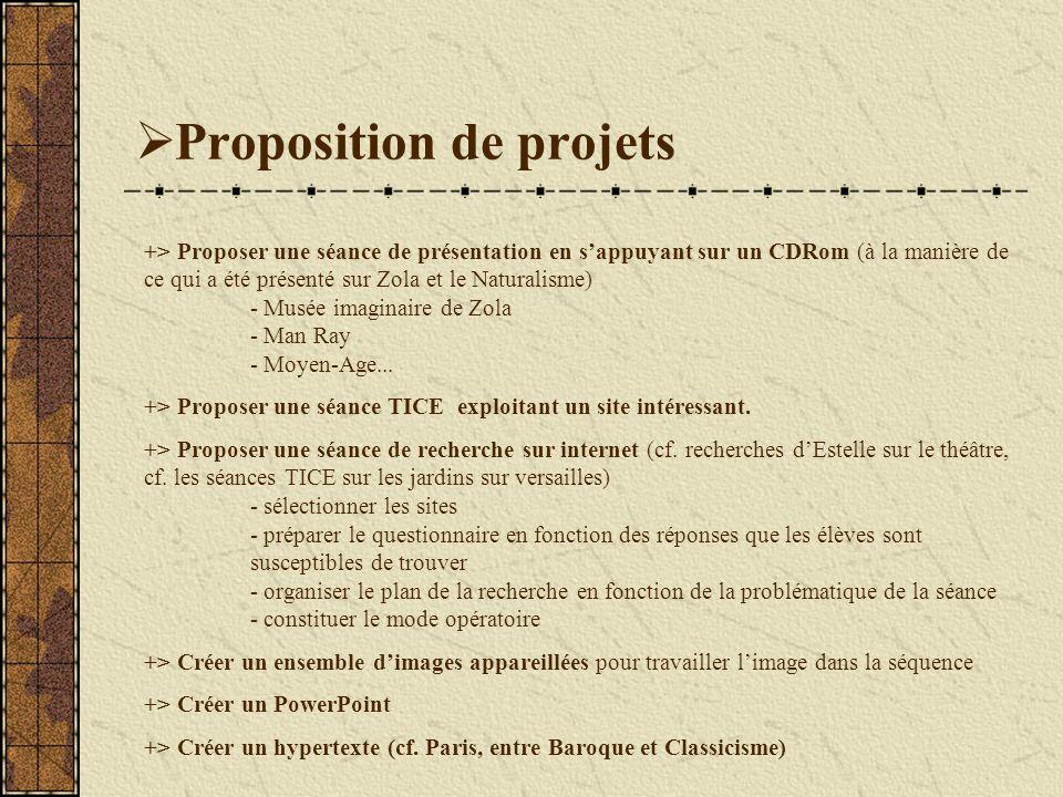Proposition de projets +> Proposer une séance de présentation en sappuyant sur un CDRom (à la manière de ce qui a été présenté sur Zola et le Naturalisme) - Musée imaginaire de Zola - Man Ray - Moyen-Age...
