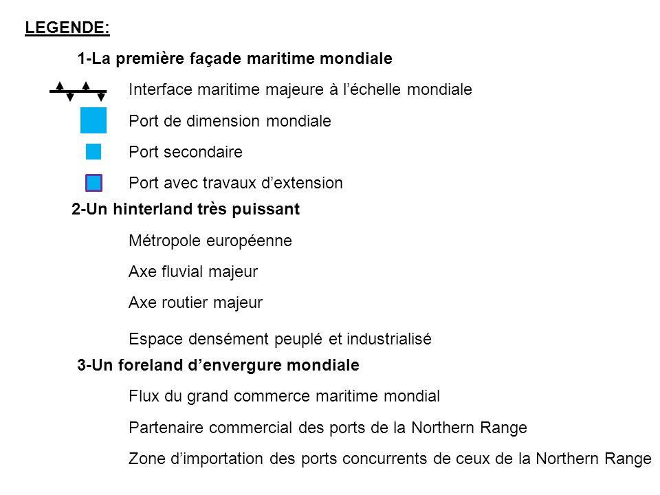 LEGENDE: 1-La première façade maritime mondiale Interface maritime majeure à léchelle mondiale Port de dimension mondiale Port secondaire Port avec tr