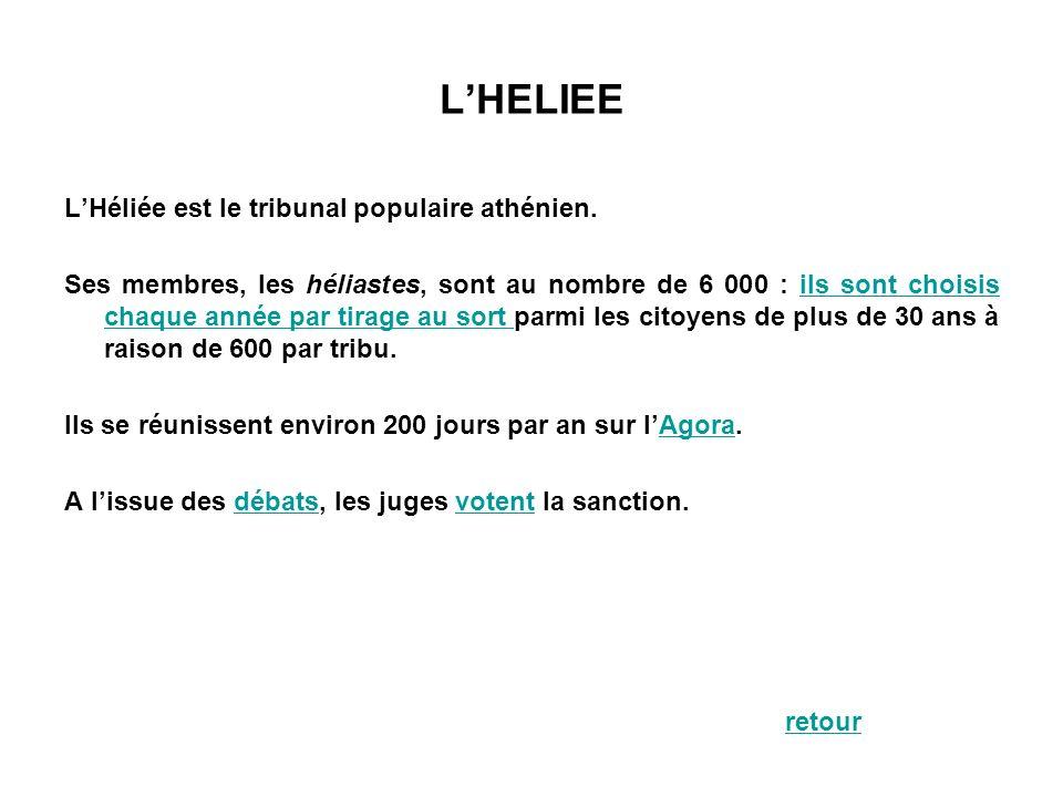 LHELIEE LHéliée est le tribunal populaire athénien. Ses membres, les héliastes, sont au nombre de 6 000 : ils sont choisis chaque année par tirage au