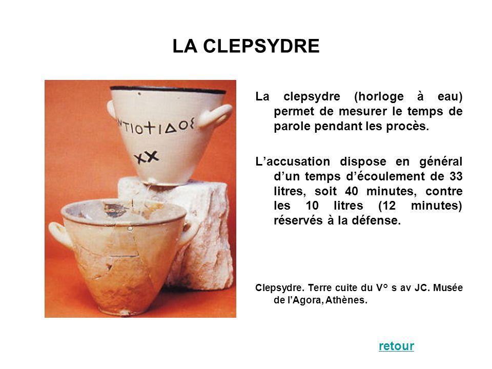 LA CLEPSYDRE La clepsydre (horloge à eau) permet de mesurer le temps de parole pendant les procès. Laccusation dispose en général dun temps découlemen