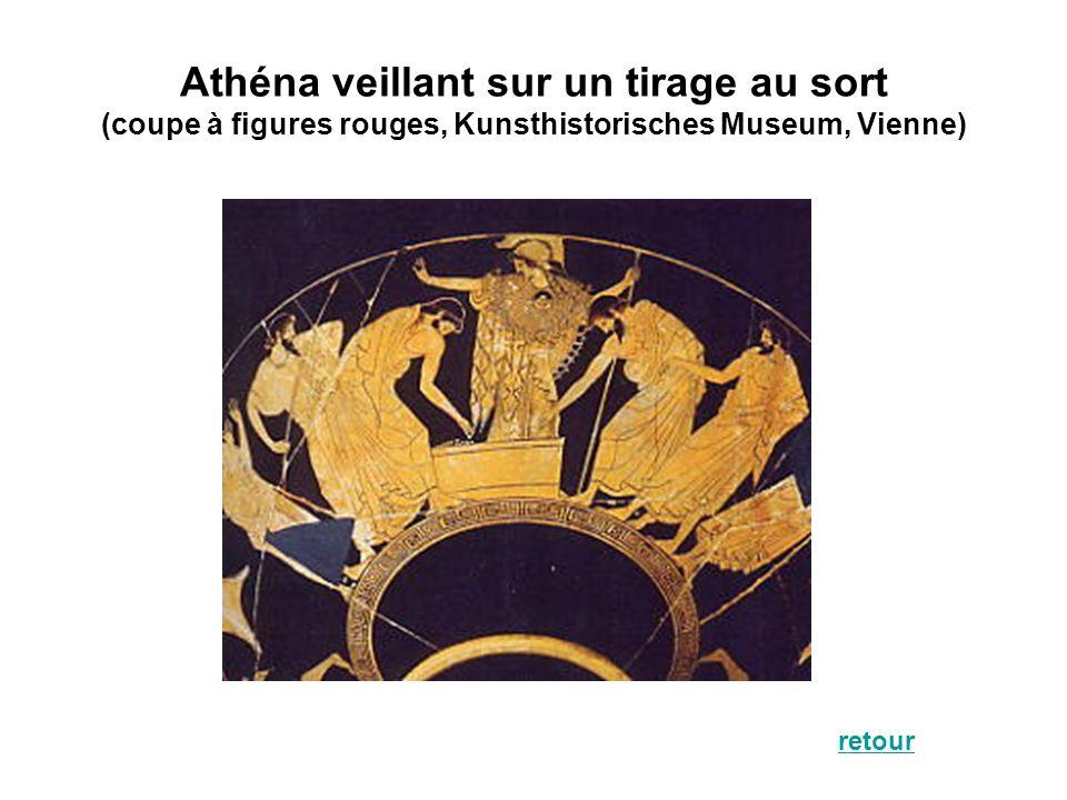 Athéna veillant sur un tirage au sort (coupe à figures rouges, Kunsthistorisches Museum, Vienne) retour