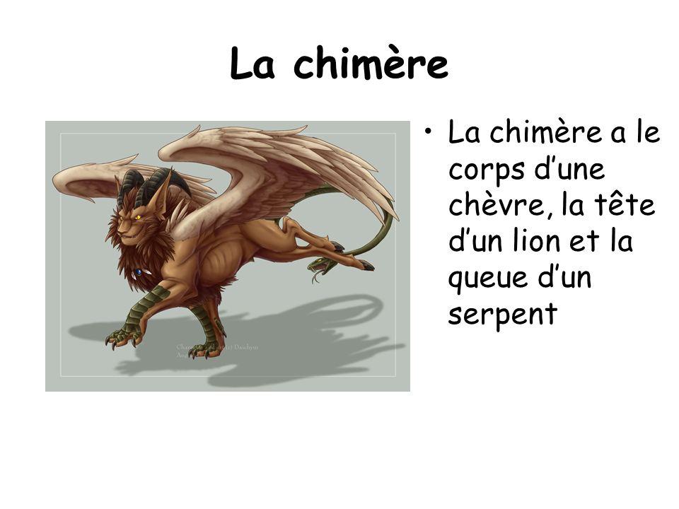 La chimère La chimère a le corps dune chèvre, la tête dun lion et la queue dun serpent