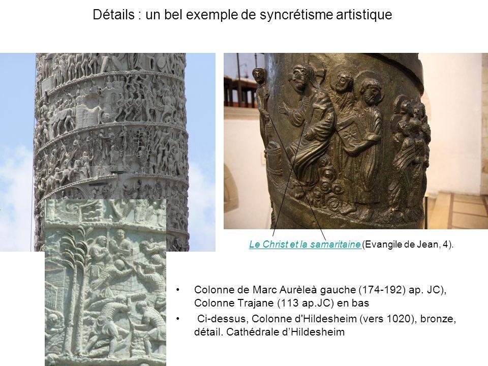 Détails : un bel exemple de syncrétisme artistique Colonne de Marc Aurèleà gauche (174-192) ap. JC), Colonne Trajane (113 ap.JC) en bas Ci-dessus, Col