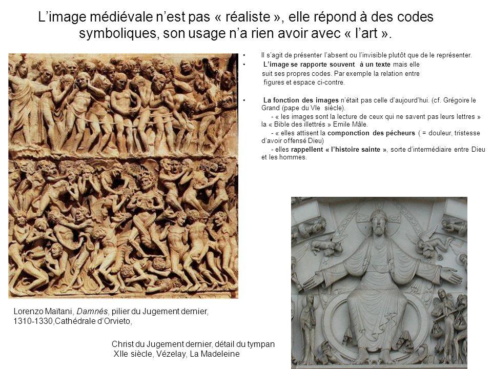 Limage médiévale nest pas « réaliste », elle répond à des codes symboliques, son usage na rien avoir avec « lart ». Il sagit de présenter labsent ou l