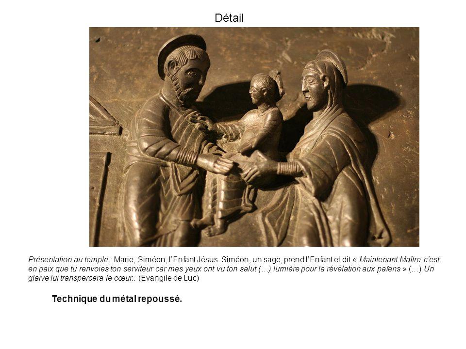 Détail Présentation au temple : Marie, Siméon, lEnfant Jésus. Siméon, un sage, prend lEnfant et dit « Maintenant Maître cest en paix que tu renvoies t
