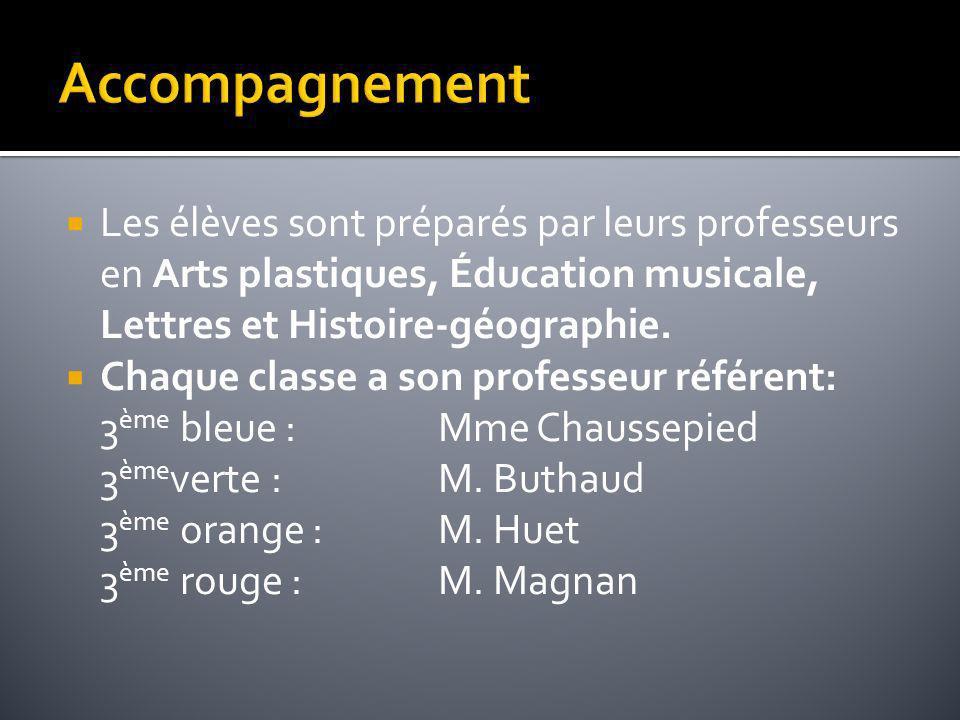 Les élèves sont préparés par leurs professeurs en Arts plastiques, Éducation musicale, Lettres et Histoire-géographie. Chaque classe a son professeur