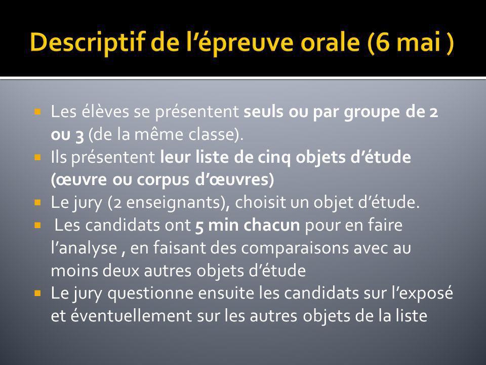 Les élèves se présentent seuls ou par groupe de 2 ou 3 (de la même classe). Ils présentent leur liste de cinq objets détude (œuvre ou corpus dœuvres)