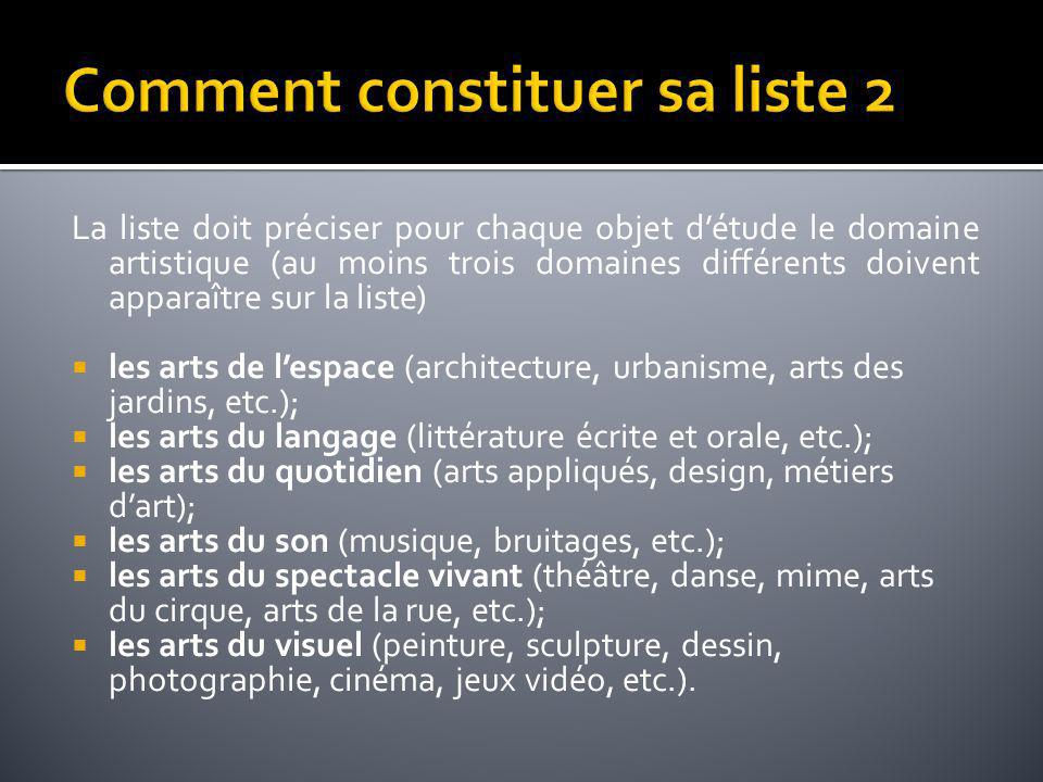 La liste doit préciser pour chaque objet détude le domaine artistique (au moins trois domaines différents doivent apparaître sur la liste) les arts de