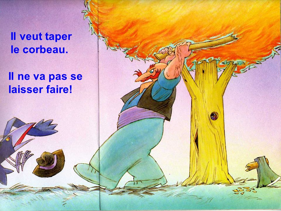 Le monsieur nest pas content. Le perroquet a cassé son marteau. Il prend le bois du marteau.