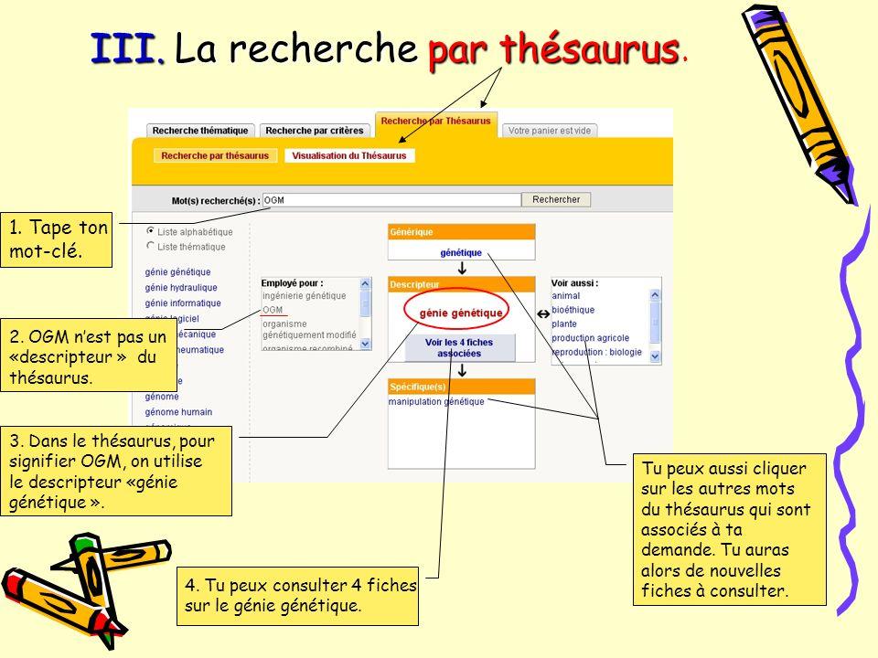 III. La recherche par thésaurus III. La recherche par thésaurus. 1. Tape ton mot-clé. 2. OGM nest pas un «descripteur » du thésaurus. 3. Dans le thésa