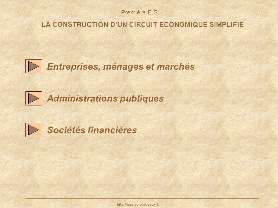 LA CONSTRUCTION DUN CIRCUIT ECONOMIQUE SIMPLIFIE Entreprises, ménages et marchés Administrations publiques http://ses.ac-bordeaux.fr Sociétés financiè