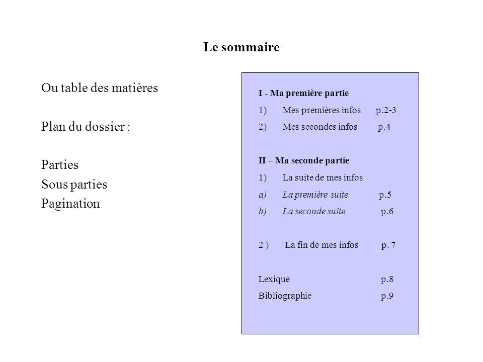 Le sommaire Ou table des matières Plan du dossier : Parties Sous parties Pagination I - Ma première partie 1)Mes premières infos p.2-3 2)Mes secondes infos p.4 II – Ma seconde partie 1)La suite de mes infos a)La première suite p.5 b)La seconde suite p.6 2 ) La fin de mes infos p.