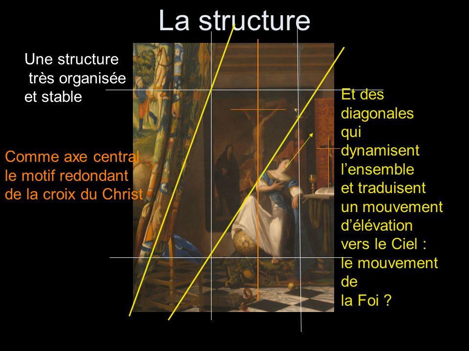 Une structure très organisée et stable Comme axe central le motif redondant de la croix du Christ Et des diagonales qui dynamisent lensemble et tradui