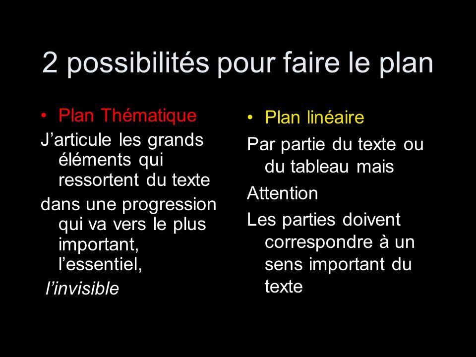 2 possibilités pour faire le plan Plan Thématique Jarticule les grands éléments qui ressortent du texte dans une progression qui va vers le plus impor