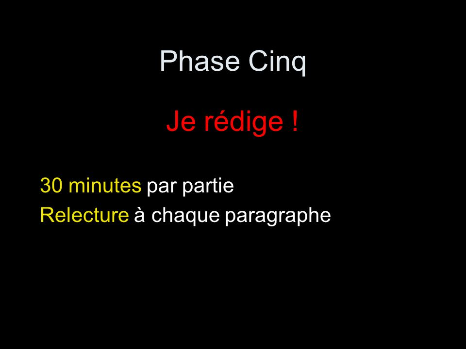 Phase Cinq Je rédige ! 30 minutes par partie Relecture à chaque paragraphe