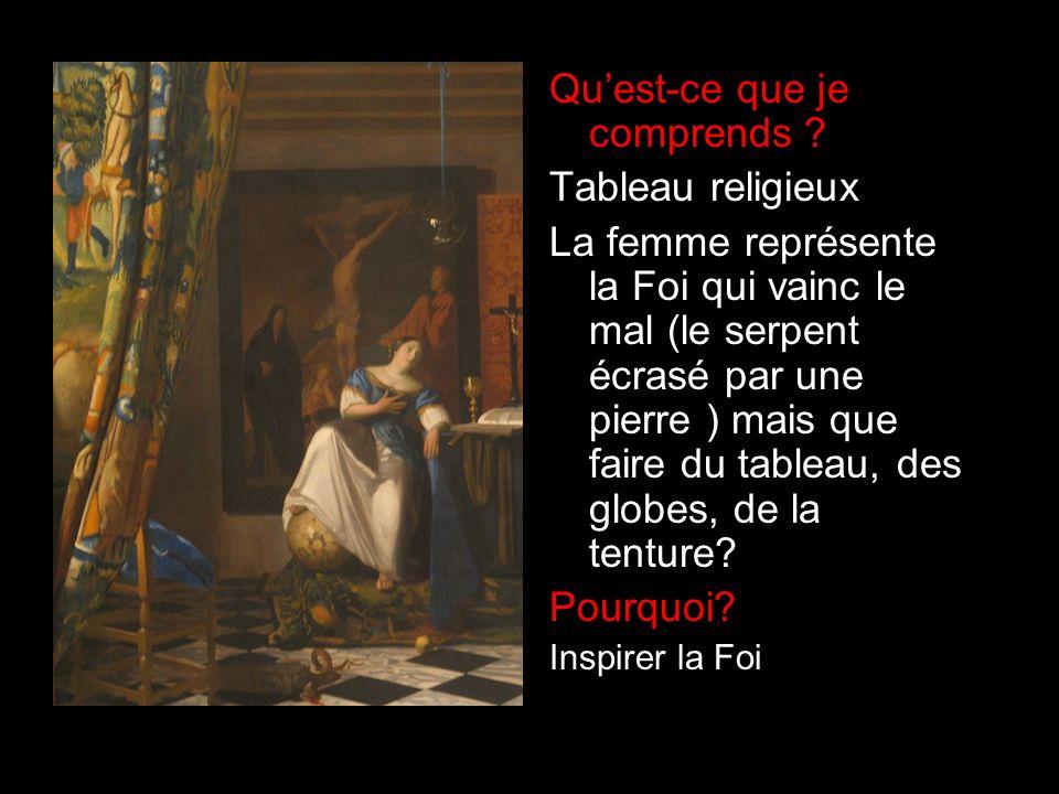 Quest-ce que je comprends ? Tableau religieux La femme représente la Foi qui vainc le mal (le serpent écrasé par une pierre ) mais que faire du tablea