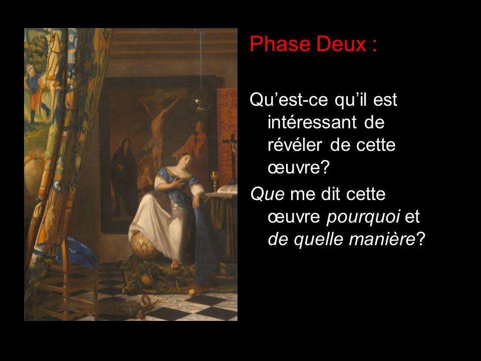 Phase Deux : Quest-ce quil est intéressant de révéler de cette œuvre? Que me dit cette œuvre pourquoi et de quelle manière?