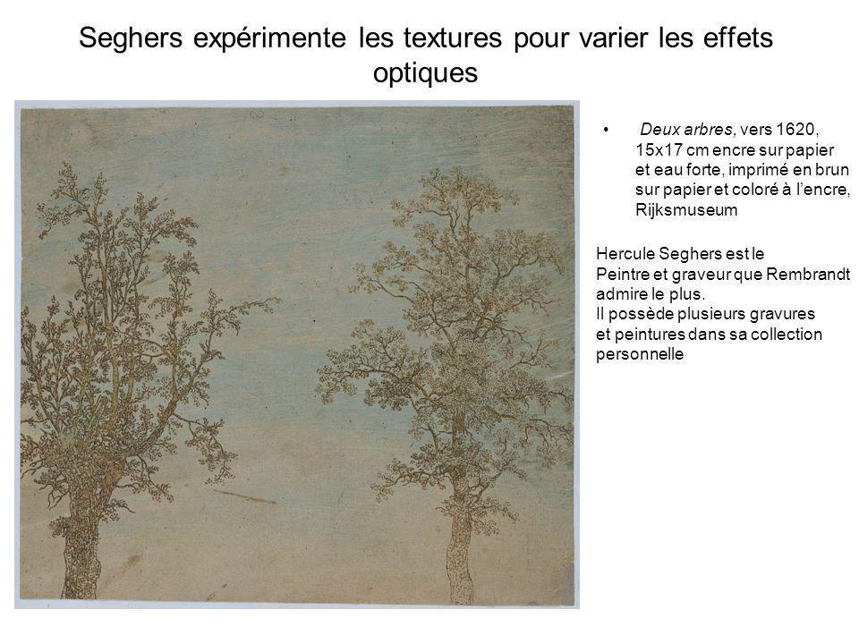 Seghers expérimente les textures pour varier les effets optiques Deux arbres, vers 1620, 15x17 cm encre sur papier et eau forte, imprimé en brun sur p