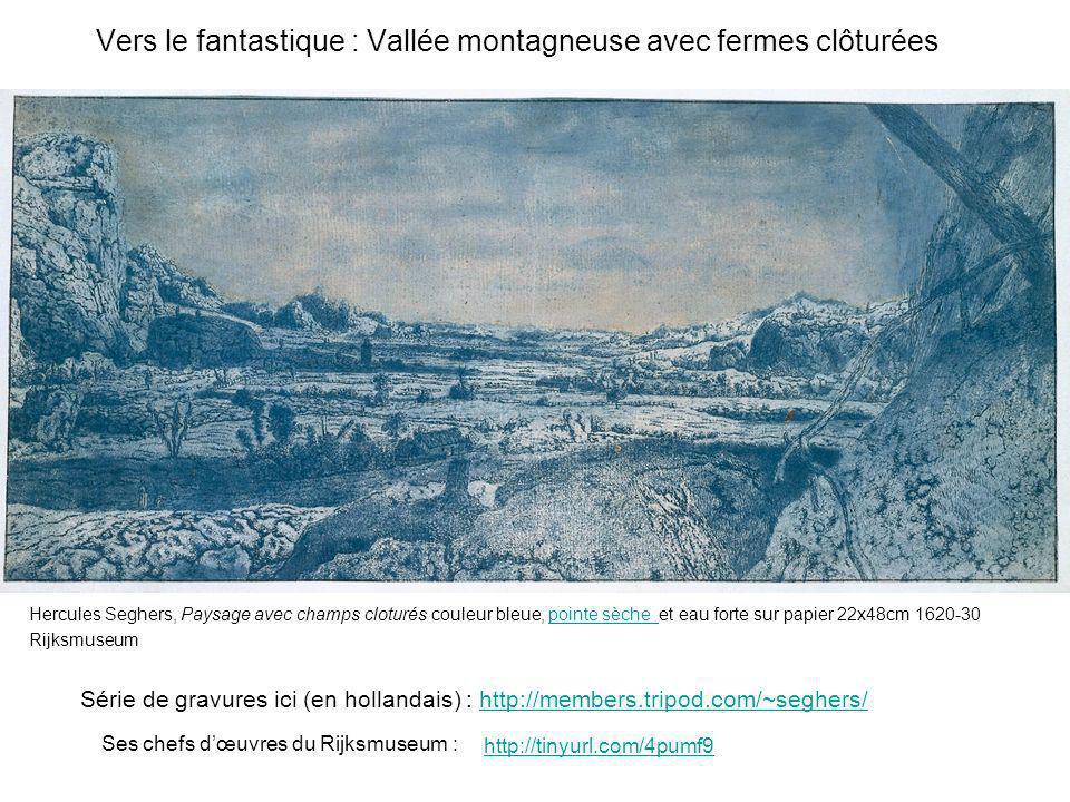 Vers le fantastique : Vallée montagneuse avec fermes clôturées Hercules Seghers, Paysage avec champs cloturés couleur bleue, pointe sèche et eau forte