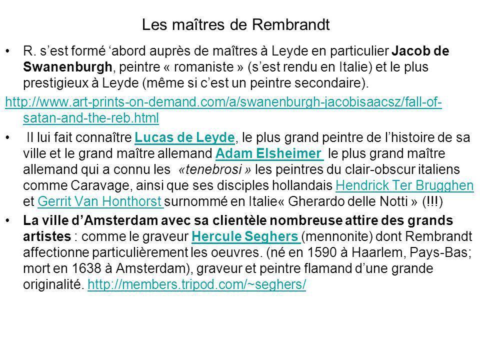 Les maîtres de Rembrandt R. sest formé abord auprès de maîtres à Leyde en particulier Jacob de Swanenburgh, peintre « romaniste » (sest rendu en Itali