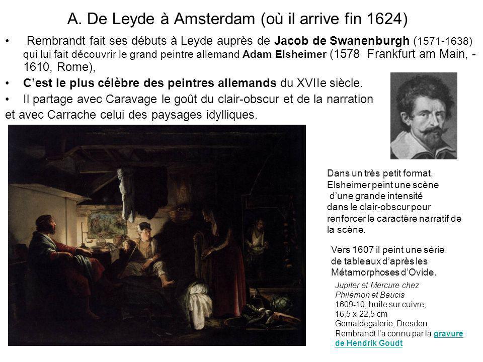 A. De Leyde à Amsterdam (où il arrive fin 1624) Rembrandt fait ses débuts à Leyde auprès de Jacob de Swanenburgh ( 1571-1638) qui lui fait découvrir l