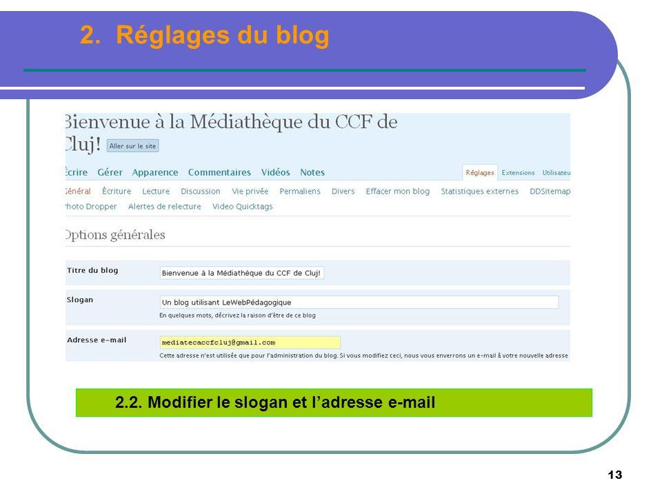 13 2.2. Modifier le slogan et ladresse e-mail 2. Réglages du blog