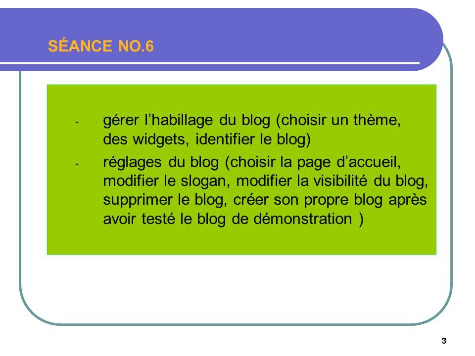 3 SÉANCE NO.6 - gérer lhabillage du blog (choisir un thème, des widgets, identifier le blog) - réglages du blog (choisir la page daccueil, modifier le slogan, modifier la visibilité du blog, supprimer le blog, créer son propre blog après avoir testé le blog de démonstration )