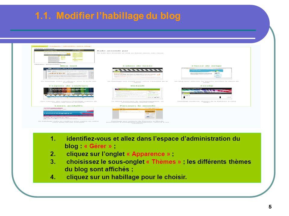 5 1. identifiez-vous et allez dans lespace dadministration du blog : « Gérer » ; 2. cliquez sur longlet « Apparence » ; 3. choisissez le sous-onglet «