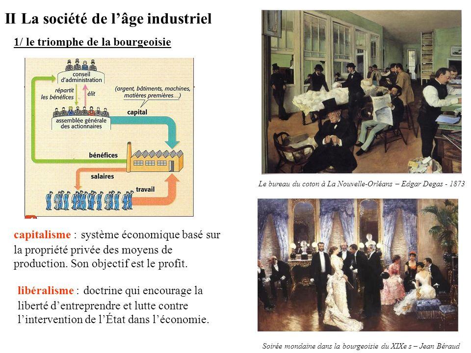 II La société de lâge industriel 1/ le triomphe de la bourgeoisie Le bureau du coton à La Nouvelle-Orléans – Edgar Degas - 1873 Soirée mondaine dans l